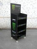 Crémaillère d'étalage personnalisée de boissons en métal avec des roues
