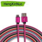 V8 Android trançado de nylon para cabo cobrando do USB dos dados de Samsung o micro