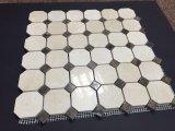 La obscuridad mezclada del octágono de mármol amarillento poner crema de Marfil puntea el azulejo de mosaico