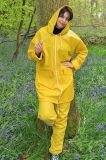 방수 PVC 비 한 벌 황색 비옷 비 재킷 작업 바지