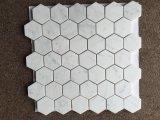 Bianco Carrera Hexagon-Steinmosaik des Weiß-2 '' zog Fliese ab