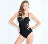 Swimwear kundenspezifisches Gesamt-Schriftsatz-reines Farben-Schwarz-der dünnen heiße Sprung-Dame