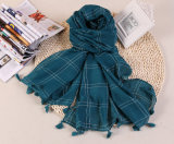 Baumwoll-Polyester-Schale Plain Farben-langen Troddel-Schal für Großverkauf