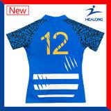 Camice stabilite della Jersey di rugby sublimate Customate di gioco del calcio di tocco della gioventù della squadra