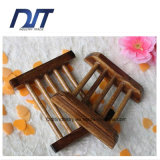 Sostenedor respetuoso del medio ambiente del jabón del rectángulo carbónico retro de madera natural del jabón
