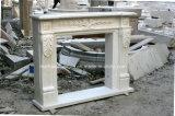 Белой каминная доска высеканная рукой мраморный камина Carrara античной Sy-Mf324