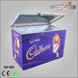 상단 자물쇠 (SD-250가)를 가진 열리는 유리제 문 아이스크림 전시 냉장고