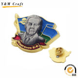 金張りの3Dによって浮彫りにされる金属の軍の折りえりピンYm1076