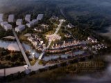空中写真の緑の都市計画3Dレンダリングの写真