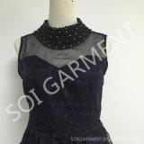 絹のライニング(DR-72)が付いている新しいオーガンザおよび刺繍の方法服
