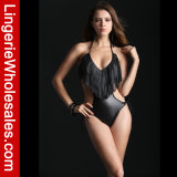 형식 여자를 위한 까만 Boho에 의하여 테를 두루는 Suded Monokini 섹시한 수영복