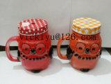 vaso di vetro del gufo arancione 150ml per la bevanda con il coperchio
