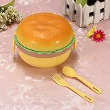 Contenitore di alimento casella di pranzo di figura dell'hamburger di 3 strati Bento con il contenitore di alimento della casella di pranzo del cucchiaio della forcella
