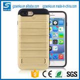 Cubierta de rectángulo de oro de los accesorios del teléfono móvil con el soporte para el borde de Samsung S7/S7