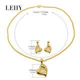 Insiemi Pendant dei monili di modo della collana del cuore di cristallo Gold-Tone & della lega degli orecchini