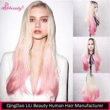 Da alta qualidade peruca sintética reta da parte dianteira do laço do cabelo por muito tempo