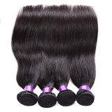 Cabelo reto do Virgin brasileiro com cabelo humano barato não processado do fechamento 8A Remy 4 pacotes de cabelo reto brasileiro com fechamento