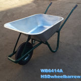 Wheelbarrow plástico colorido do jardim com tipo separado frame galvanizado (WB6414)