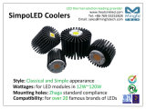 aluminio de la protuberancia del disipador de calor del disipador de calor del refrigerador de 100W LED para el CREE Dia160mm-Simpoled-Cre-160100
