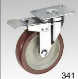Hochroter TPR Schwenker mit doppelter Bremsen-Platten-Oberseite-Fußrolle