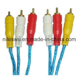 Color blu Transparent 3r-3r/3RCA/RCA Cable con Al Foil