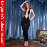 Costume Backless de Clubwear de salopette de plongeon provocant profond du V-Collet des femmes sexy