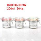 frasco de vidro redondo do frasco de vidro do armazenamento do alimento 200ml