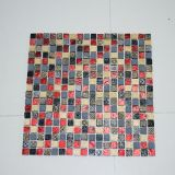 Farben-Stahlfliese, Keramikziegel-Rosen-Farbe, Goldfarben-Glasmosaik-Fliese