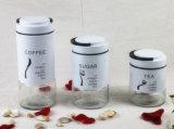 Frasco de vidro do armazenamento da vasilha do açúcar do café da massa com revestimento de S/S