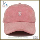 Chapéus não organizados do paizinho do boné de beisebol cor-de-rosa feito sob encomenda da camurça das mulheres