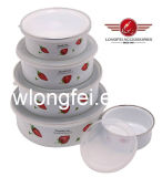 204D 5PCS New Style Enamel Bowl Storage Bowls com Beautiful Decal