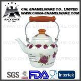 Chaleira cheia do esmalte da impressão do logotipo do fornecedor de China com punho de madeira
