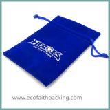 Bolso promocional modificado para requisitos particulares del regalo de la joyería del lazo del terciopelo con la impresión de la insignia