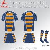 Healong Sport-Schnitt und nähen sublimiertes Drucken-Rugby-Hemd