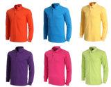 卸し売りカスタム人のブランク純粋なカラー長い袖のポロシャツ