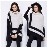 Sweater1523를 뜨개질을 하는 숙녀 자라목 스웨터 Batwing 외투