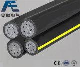 Cable a dos caras/triple/Quadruplex del cable del ABC, del servicio del Gota-Aluminio de transmisión (AAC AAAC ACSR)
