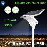 Lámpara de calle solar integrada al aire libre 30W con el sensor de movimiento