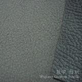 Tissu de cuir de polyester gravé en relief par suède composé avec le support