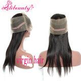 Fechamento frontal da faixa cheia peruana profunda frontal quente do laço do cabelo 360 do Virgin da onda 9A do fechamento do laço da venda 360 com cabelo humano do cabelo do bebê