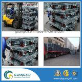 Jaula soldada plegable del alambre del transporte y del almacenaje con los echadores