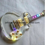 Éclairage LED acrylique de corps sur la guitare électrique de Les Lp de collet de corps