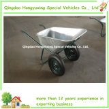 Double durável Wheels Wheelbarrow com 75L Galvanized Tray (WB6432)