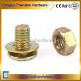 Boulon de transport galvanisé jaune avec la noix et rondelle assemblée