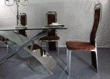 De moderne Ontworpen Hete Eettafel van de Verkoop met Roestvrij staal en Glas