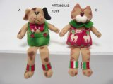 Gato de la Navidad del paño grueso y suave y regalo del canguro del perro, 2 Asst