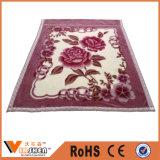 花の印刷の二重層厚いポリエステルRaschel暖かく柔らかい毛布