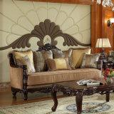 Sofà americano antico del tessuto impostato con lo strato di legno della casa del testo fisso per il salone