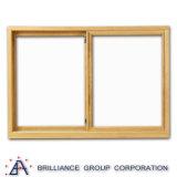 Doppia finestra di scivolamento di legno di vetro di alluminio del grano con rete