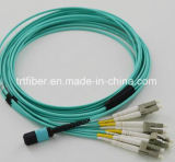 Cordon de connexion de fibre du câble Om3 10g de MPO
